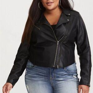 Plus Size Women/'s Faux Leather Biker Jacket Flight Short Coats Punk Casual Tops