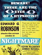 NIGHTMARE 1956 Edward G. Robinson, Kevin McCarthy, Cornell Woolrich TRADE ADVERT