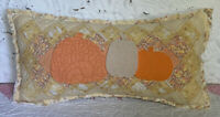NEW Handmade Pumpkins Pillow  Vintage Quilt  Chenille Bedspread  Autumn Fall