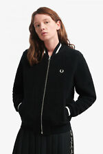 FRED PERRY BOMBER JACKET WOMENS GIRLS size 10 12 track tennis black fleece coat