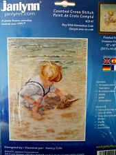 "Cross stitch Kit "" Boy with Horseshoe Crab "" New by Janlynn"