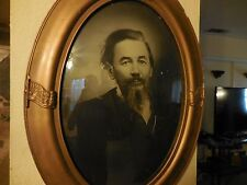 Antique Charcoal Drawing of 1800's Man Figure in Oval Frame & Convex Glass