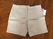 NWT Girls Nautica Khaki Uniform Shorts Size 14.5 Plus Adjustable Waist Stretch
