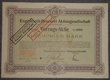 Engelhardt-cervecería sociedad anónima vorzugsaktie 1920 1000 Mark