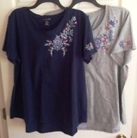 RXB Womens HiLo Embroidered S/S Cotton T-SHIRT XL XXL (2 Colors) NWT