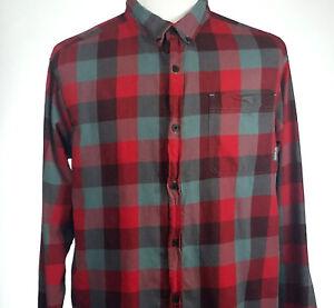 Columbia Mens XL Plaid Shirt Red Long Sleeve Casual Button Down Collar