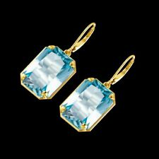 Big Size Aquamarine Drop Earrings 925 Sterling Silver & Gold Plated Fine Jewelry