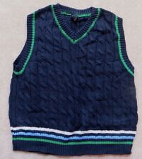 EUC Baby Gap Navy Green V-Neck Pullover Sweater Vest Size 4 4yrs Years