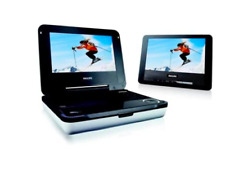 Philips PD708/37 Travel Portable DVD Player White Remote 2 screens battery
