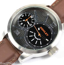 Henley Gents Mens Mega BIG Black Dual Time Zone Watch, Brown Silicone Strap NEW