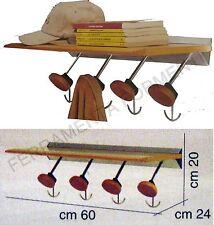 estanteria de madera 4 perchas de pared - cintre mur en bois - wooden coat rack