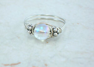 Sterling Silver Mystic Quartz and Bali Bead Ring