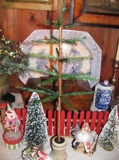 "NEW Primitive 21 1/2"" Real Feather Christmas Tree,Wood Urn Base,Acorns & Berries"