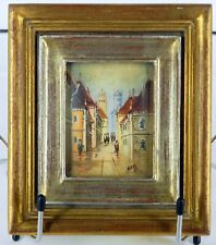 MINIATURE HAND PAINTED MADE IN ITALY SIGNED NEVA STREET SCENE OIL ON CANVAS NICE