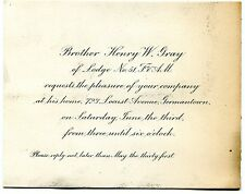 1900 LODGE NO 51 FREE & ANCIENT MASONS GERMANTOWN PHILA PA INVITATION H W GRAY