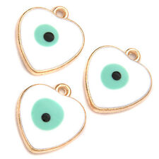 10x Fashion Jewelry White Blue Enamel Evil Eye Heart Gold Plated Alloy Pendant J