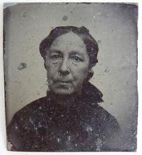 Antica piccola foto su metallo ritratto donna 19e siècle