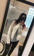 The Buckle Daytrip Leather Moto Jacket Women Off White Silver M Medium New