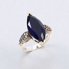 Solitaire Blue Sapphire 925 Sterling Silver Women Ring Turkish Handmade Jewelry