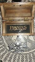 Pirates of the Burning Sea Metal Belt Buckle With Mini Treasure Chest Case