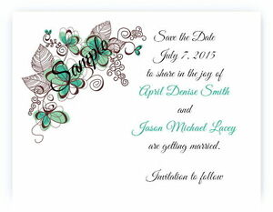 100 Personalized Custom Green Floral Swirl Bridal Wedding Save The Date Cards