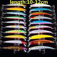 20Pcs Set Fishing Lures Crankbaits Hooks Minnow Baits Tackle 10/12cm