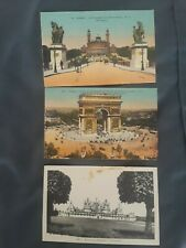 Vintage French postcards; Unposted; 2 colored and 1 black & white