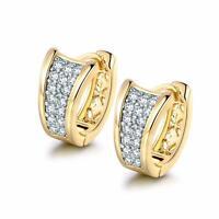 Ohrringe Creolen Klappcreolen Zirkonia weiß 750er Gold 18Karat vergoldet O1582L