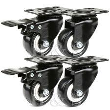 4 Heavy Duty 200kg 50mm PU Swivel Castor Wheels Trolley Furniture Caster Rubber
