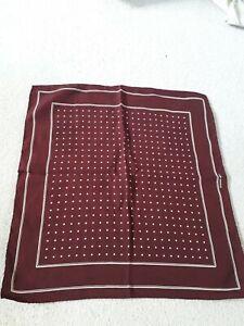 Vintage Stefano Ricci Silk Square/Handkerchief Burgandy Polka Dot