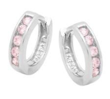 Ohrringe Creole Silber 925 Zirkonia pink mit Anlaufschutz  Neu  Artikel 4050