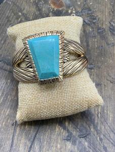 Barse Meridian Cuff Bracelet- Turquoise & Bronze-NWT