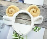 Women Kid Child White Sheep Goat Ear Costume Party white Hair head band Prop