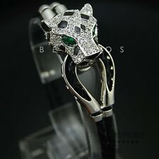 Leopard Head Leather Bracelet Green Eye CZ Animal Cat Jewelry Jaguar Silver