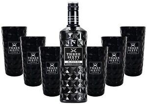 Three Sixty Black 42 Vodka 0,7l 700ml (42% Vol) + 6x Black Longdrink-Gläser eck