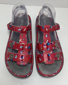 $110 NEW Alegria Kleo Red Buds Comfort Sandals Ankle Strap Size 41 10.5 - 11 US