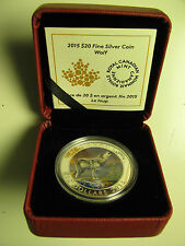 2015 Proof $20 Wolf Canada .9999 silver twenty dollars