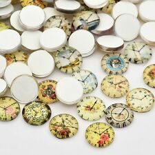 10 Four Leaf Clover 12mm Printed Half Round Domed Glass Cabochons (cab1b4)