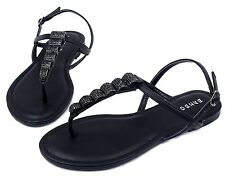 Josalyn-19 Precious Stone Flats Sandals Gladiator Party Women Shoes Black 6
