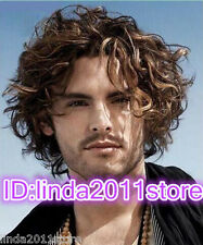Fashion Short Brown Mix Fluffy Curly Heat Resistant Synthetic Men's Wig
