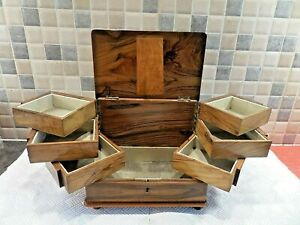 STUNNING ANTIQUE INLAID AND HAND CARVED OLIVE WOOD BOX WITH 6 SWING TRAYS + KEY