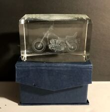 "Glass 3D Laser Etched Harley Davidson Motorcycle Paperweight, 3"" Long"