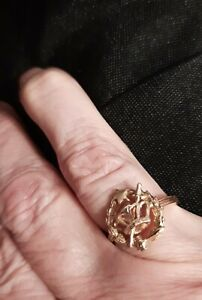 14K Ring size 7 1/2 Crown Gavel Star sword women/small mens lodge? eastern star