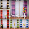 PAIR READY MADE STRIPED CURTAINS EYELET TOP RING TOP VOILE NET CURTAINS PANELS