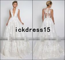 Deep V Neck Sheer Back Beach Wedding Dress Lace BOHO Bridal Gown Custom 8 10 12+