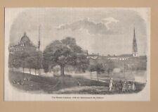 1848 MASSACHUSETTES BOSTON COMMON ANTIQUE WOOD ENGRAVING