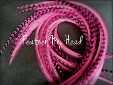 "Pink Grizzly Feather Hair Extension - Long - 9""-12"" ( 23 - 30cm) Real Feathers"