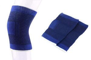 Coppia ginocchiera fascia elastica tutore compressione sport blu