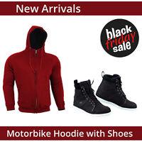Mens Motorcycle Fleece Hoodie With Casual Sneaker Boot / Shoes Waterproof CE