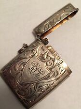 English Antique Edwardian Hallmarked Silver Engraved Vesta Case Matchsafe 925!